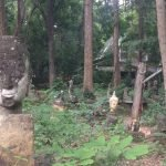 Shows statues in the forest at Wat Umong in Chiang Mai, Thailand